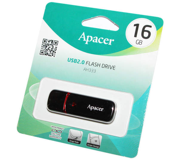 APACER USB2.0 flash 16 GB (AH-333) Black /30 (шт.)