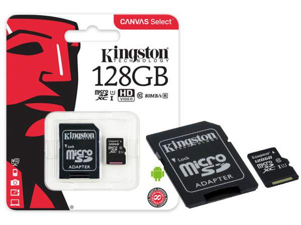 micro SD 128GB KINGSTON Canvas Select Plus class 10 + адаптер (R100Mb/s) (шт.)